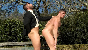 two guys realize a sexual fantasy. fucking on a park bench!