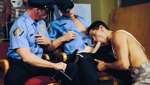 2 Guards Are Stuffing Their penises Down A Prisoner's Throat