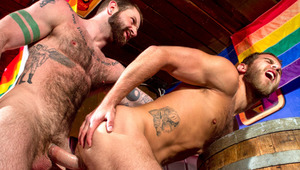 horny charming hunk gets deeply butt poked by bear's long cock