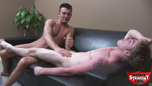 Ross introduces Liam into the wonderful world of handjobs. See how well Liam does at wanking another guy off for the first time! To see if he likes Ross' ministrations, watch for yourself!