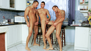 The triplets have a nice jerk off session in the kitchen