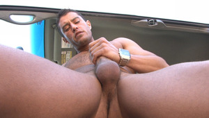 Cody trips down, pulls out his big schlong and jerks it!
