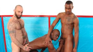 Athletes Sam & Tyson take coach Jay on the wrestling mat