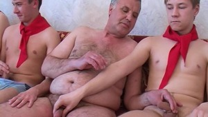 twink gays together with adult man organize a homemade exciting porn
