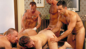 All males wind up in the upstairs bedroom for a gorgeous orgy!