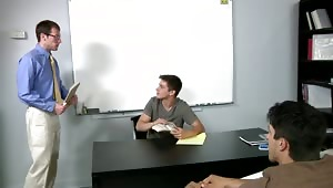 The boys don't take to kindly to new substitute teacher Kyle Quinn. They decide to initiate Kyle into the school by taking turns pounding the cum out of him.