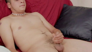 Firm bodied gay Owen rubbing his monstrous meat on the couch