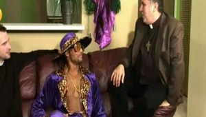 A pimp sodomizing a priest? This devilish debauchery of deviance could only happen on 1 nightHalloween! Karl of the cloth wanted pimped out soul brother Sly to end his unrighteous ways, but the only thing Sly was interested in worshiping was Karl's s