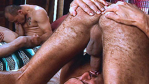 2 Gays men blowing on their own schlong, watching the other stud
