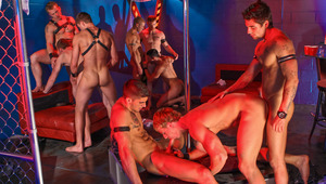 9 hot studs let loose & have orgy fun around a stripper pole