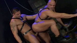 Blindfolded slave suck his master rod in a dungeon in here