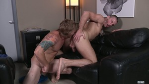 The college experience is non-stop partying and fucking for Connor Kline and his buddy Mike.  For example, last night Connor bumped into a hot blond surfer type named Tom Faulk and without a word being exchanged, they guys headed to Tom's room to fuck!  B