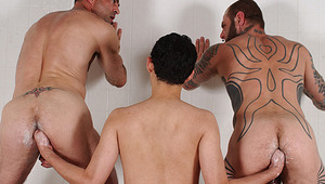 David Verando In The Shower Works Both Fists In Our two studs