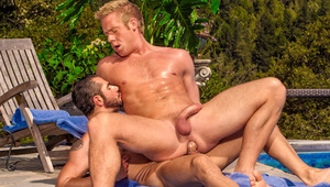 After swimming Dean & Christopher seek dry ground to fuck on