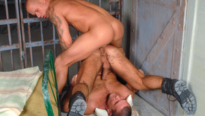 Dominant prisoner parks it in his sub cellmate's hairy behind