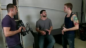Tyler Sweet finds out what the horny crew men do on the set of a porno - gang bang the new guy!
