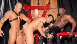 Cock-craving whore AJ is shaved & dominated by Jordano & Marc
