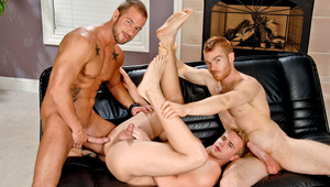 Watch these 3 hot bros get each other off in the living room