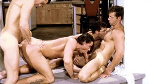 These four randy dudes work each other into a sexual frenzy.