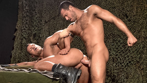 In the bunker Jessy drills Angelo's hole as he cheers him on
