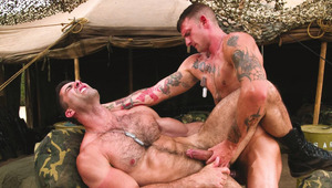 Horny buff hunks suck and fuck outdoors by military tent