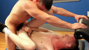 2 men 69 on a workout bench then one rides the other's butt