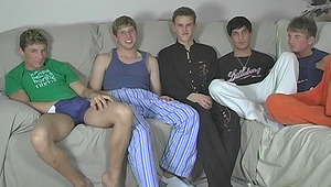 five of our sexiest boys all chill out on the couch and share their schlongs in a jerk and lick!