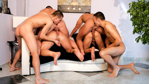 six horny studs swallowing cock fucking dildos and fucking ass