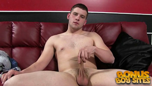 Newbie Lucas Weston doesn't want to be here, but needs cash for the rent. He's uncomfortable during the entire movie, but every straight BF has a price. He fingers his virgin hole and laps up his own sperm. This southern man has potential and might return
