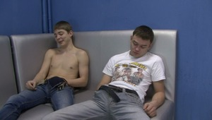 Lusty gay boys are touching and stimulating their lusty crotches in hot gay sex tape.
