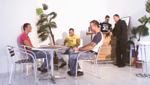 The men hangout on the set and get ready before their orgy