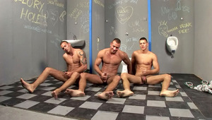 three horny brothers jerking off side by side in public toilets
