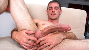 horny athletic dude with body hair masturbates his huge schlong