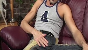 Watch Cedric slowly stroke his long, fat meat until he licks his load all over his tattooed tummy!