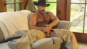 Cowboy taking a shower after jerking off his aroused rod