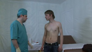 Horny doctor is getting very aroused from checking twinks lovely teen body.