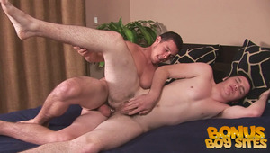Mark shows off his deep throating skills before Bobby mounts Mark's butt every which way. Watch Mark moan like a lady for more as Bobby fucks his ass hard!