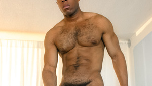 Youngblood's huge ebony penis keeps popping out of his shorts