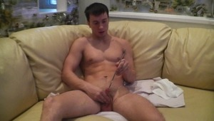 fine gay boyfriend is expanding his horny pee slit with a steel dipstick.