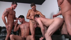 Andrew Blue has already racked up three hot husbands: Donny Wright, Haigen Sence & Cooper Reed. Now that Duncan Black is also wearing his ring the guys take the opportunity to break him in Jizz Orgy style! Duncan's impressive bubble butt happily gets poun