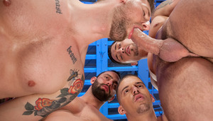 Troy Daniels in a cock blowing feeding frenzy circle jerk
