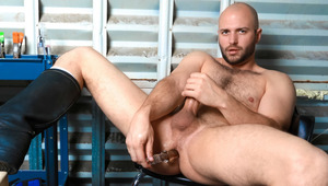 nasty David drives a glass dildo deep into his beefy behind