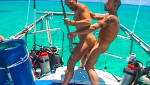 Josh bends Karl over the boat's rail & slams inside his booty