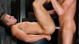 Chris hammers Cameron while he jacks off and licks his load