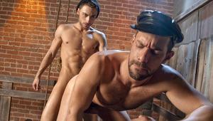 Zack bends longshoreman Tristan over crate and thrusts deep