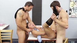 Rocco Reed and Tommy Defendi are not shy about letting the new guy in the gay office know how they feel about him. Tyler Morgan gets a warm welcome from two hung tops who pound his tight hole in the lunch room!