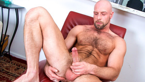 Hairy daddy wanks his meat until he cums all over furry body
