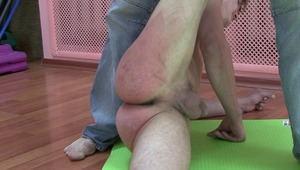 sweet flower boys charming bottoms are filled with angry red bruises from gay boss relentless bdsm spankings.