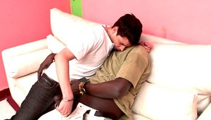 Hot bodied white gay Naza gets pink asshole rammed by Canu's impossible ebony schlong