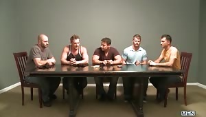 """""""Ace of Spade"""" is a card game that adds an element of luck to a 5 man orgy!  David Chase, Luke Hass, Brenden Cage, Robert Van Damme & Jeremy Stevens all compete for the grand prize where cumming counts you out!"""